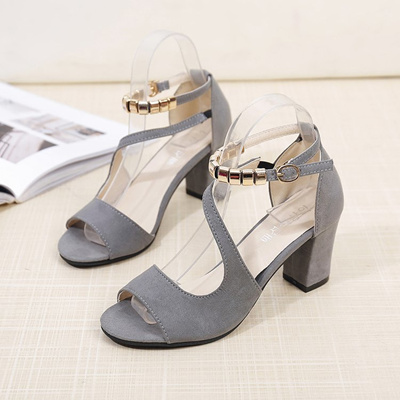 Sexy Roman Spring Mouth High With Shop Heels Fish Sandals Thick 2018 Beaded Hollow A Word Femal 34AL5Rjq