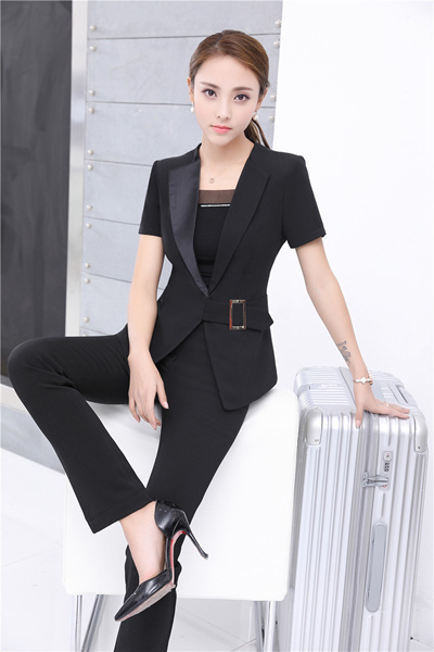 012a35c2092 shop Plus Size 4XL Summer Short Sleeve Formal Pantsuits With Jackets And  Pants Ladies Office Blazers