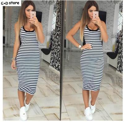 8194d24e68de shop Summer Casual Women Striped Dress Sleeveless Round Neck Slim Fit  Bodycon Dress T Shirt Dresses