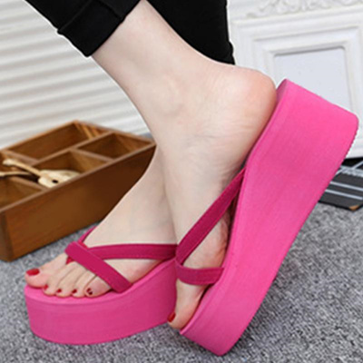 95aee2a2e9d31d Qoo10 - shop Summer Sweet Women High Heel Flip Flops Slippers Wedge Platform  B...   Shoes