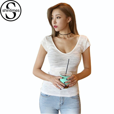 31869b4849f75 shop Tee Shirt Femme Cotton T-Shirt Fashion Slim Deep V-Neck Sexy T
