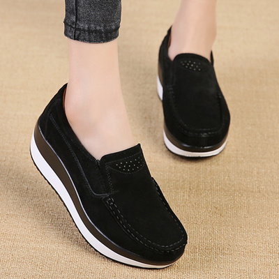8f7b86d649 Qoo10 - shop Women Sneakers Vulcanize Shoes Platform Creepers Suede Leather  Te...   Shoes