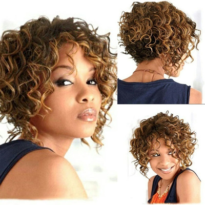 Qoo10 Short Curly Blonde Brown Highlights Wigs Synthetic Capless