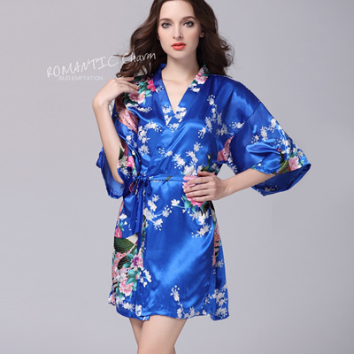 2b6fe0851c Qoo10 - Silk Satin Wedding Bride Bridesmaid Robe Floral Bathrobe Short  Kimono ...   Underwear   Sock.