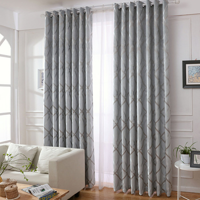 Silver Color Striped Blackout Curtains Customized Free Hooks