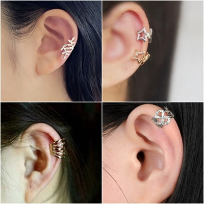 Silver Gold Classic Timeless Plain Floral Ear Cuff No Pierced Ears