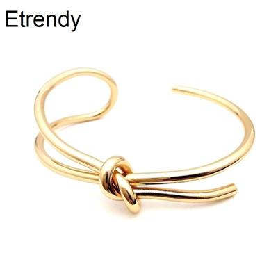 Simple Handmade Fashion Open Bracelet Adjule Trendy Jewelry Gold Color Cuff Bracelets Bangles
