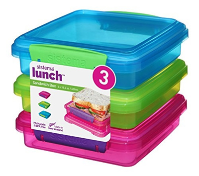 Sistema Lunch Collection Sandwich Box Food Storage Containers 152 Ounce Rectangle Assorted Solid