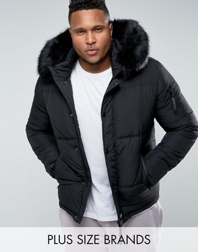 265eb2a3a Sixth June PLUS Puffer Jacket In Black With Faux Fur Hood