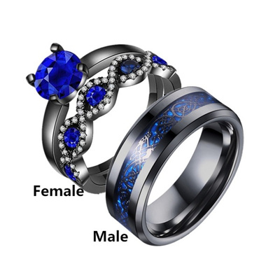 Qoo10 Size 6 13 Couple Ring His Hers Black Stainless Steel 10k