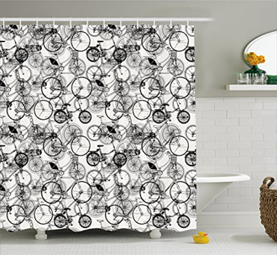Sketchy Shower Curtain by Ambesonne Vintage Retro Bicycle Bike Hand Drawn  Vector Abstract Design Im
