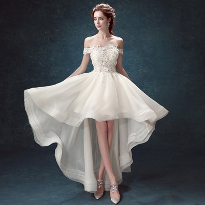 Qoo10 wedding dress womens clothing slim lace princess wedding dresses short in front long tail wedding dress bride chinese wedding gown junglespirit Gallery