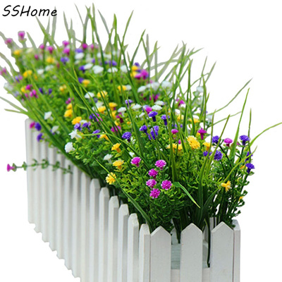 qoo10 - small artificial green plants grass fake floral plastic silk