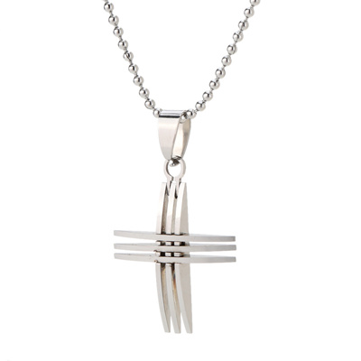 Qoo10 small silver cross pendant silver bead chain necklace with small silver cross pendant silver bead chain necklace with arc surface fashion accessories for girls mozeypictures Images