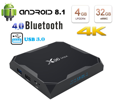 Smart TV Box Android 8 1 Quad Core 4GB Ram 32GB Rom Support 4K with  Bluetooth Streamer Media Player