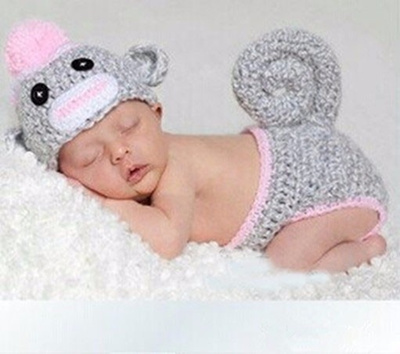 Qoo10 Sock Monkey Crochet Baby Hat With Diaper Cover Handmade