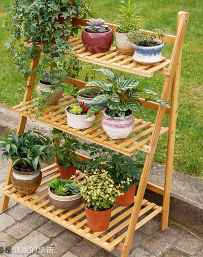 garden rack. Solid Bamboo Plants Shelf Rack Home Garden Furniture Eco Friendly Country Style Qoo10