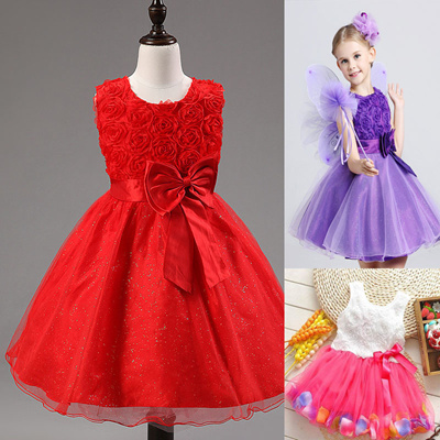 8f94b2293a0f Qoo10 - Solid Color Sleeveless Toddler Baby Kids Girls Princess Party Tutu  Lac...   Kids Fashion