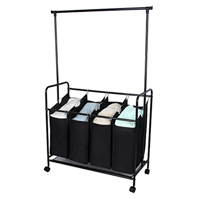 Qoo10 Songmics Black 4 Bag Rolling Laundry Sorter Cart With