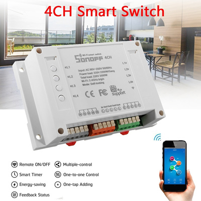 Sonoff 4 Channel Hotspot Smart Switch Support Phone Remote Control Timer  Socket Module