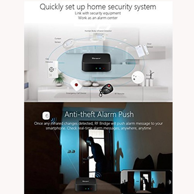 Sonoff RF Bridge 433 Convert 433MHz RF Remote WiFi Switch Timer Home  Security Automation (Color: Bla