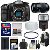 Sony Alpha A68 Digital SLR Camera Body with 70-300mm Lens 64GB Card Battery Backpack Flash Image