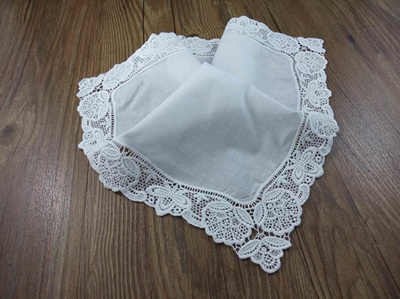 embroidered lace wedding handkerchief