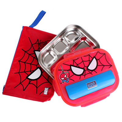 Spider Man Kids Stainless Steel Divided Plate Set Lunch Box Tray With Lid Bag  sc 1 st  Qoo10 & Qoo10 - Spider Man Kids Stainless Steel Divided Plate Set Lunch Box ...