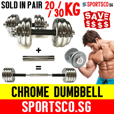 6f99b556e55 Premium Chrome Dumbbell to Barbell Set ☘ 20KG   30KG ☘ Long Lasting ☘