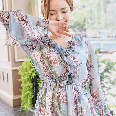 Qoo10 Spot Korea Wind High Waist Floral Dress Autumn Outfit New