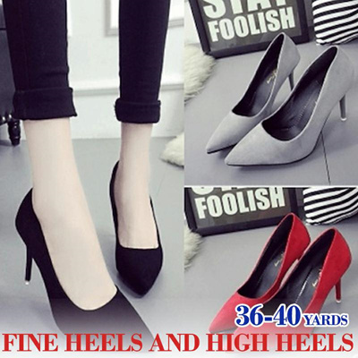 96db843251f Spring and autumn sexy womens high heel stiletto pointed suede shoes black  professional shoes sweet