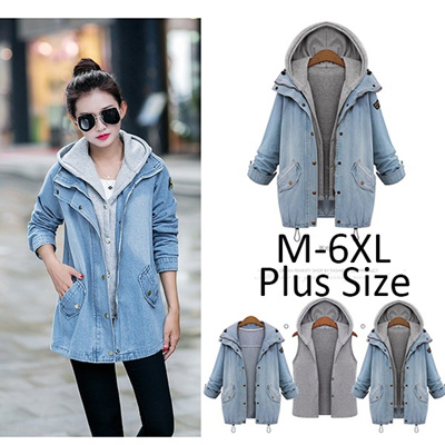 c7b96946b705 Spring Autumn Women Two Piece Hooded Jeans Jacket Suit Plus Size Casual  Denim Coat Sweatshirt Vest