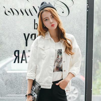 Spring New Korean Version Of Loose White Denim Jacket Dress Harajuku Style Frock Jacket Long Sleeves