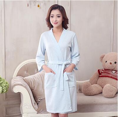 Spring Summer Autumn Thin Cotton Bathrobe Pajamas Men Women SPA Robe  Clothes Gown Bath d329c23c9