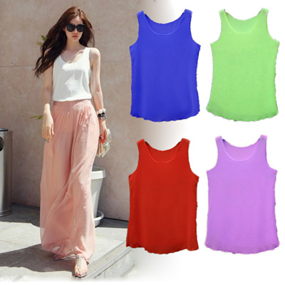 78c398859f71a Qoo10 - Spring summer double-layer chiffon vest women wearing loose short  slee...   Women s Clothing