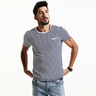 c89c4959419 Qoo10 - Spring Summer Short Sleeve T Shirts Men Striped Fashion Tees Slim  Fit ...   Sportswear
