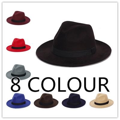 998cb824a80 Qoo spring wide brim vintage wool felt hats women fedora men felt hat jazz  women clothing