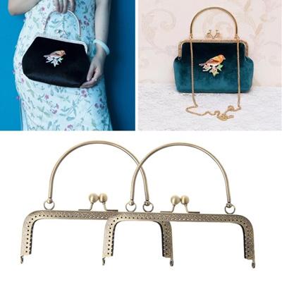 Qoo10 - Square Metal Flower Purse Bag Frame Kiss Clasp Lock With ...