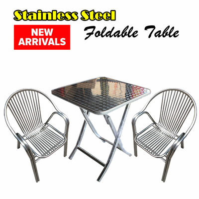 Qoo Folding Table Furniture Deco - Stainless steel picnic table