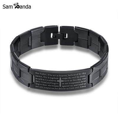 Stainless Steel Cross Bracelet Men Jewelry Silver Black English Lord S Prayer Bracelets