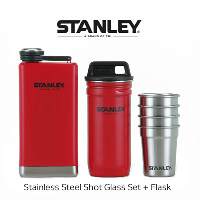 [Stanley] Stainless Steel Shot Glass Set + Flask Gift Pack Wine