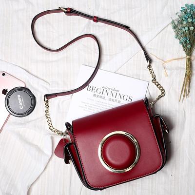 5e1467e8f0aa Star fall winter with female Bao Suokou Bao Yangmi cowhide leather chain  camera shoulder bags