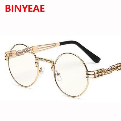 ca145cf7515f Qoo10 - Steampunk gold glasses frames men Round Shades Designer transparent  gl...   Men s Bags   Sho.
