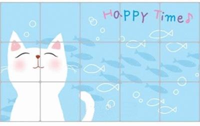 Stiker / Wallpaper Dinding Dapur Anti-Minyak Motif Kucing Putih Stickers / Wallpaper Wall Kitchen