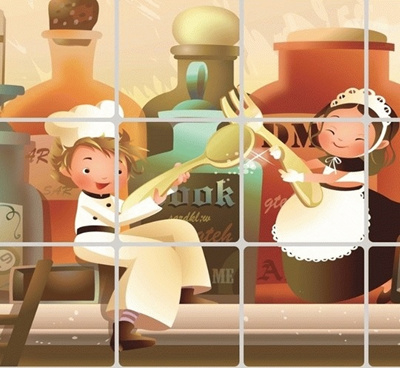 Stiker / Wallpaper Dinding Dapur Anti-Minyak Motif Manusia Mini Stickers / Wallpaper Wall Kitchen