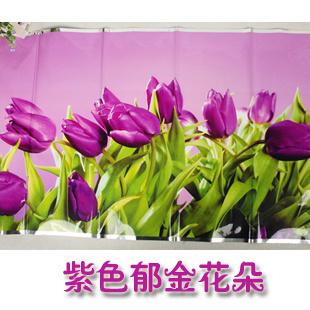 Stiker / Wallpaper Dinding Dapur Anti-Minyak Motif Tulip Ungu Stickers / Wallpaper Wall Kitchen