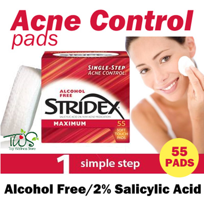 Stridex, Single-Step Acne Control, Maximum, Alcohol Free, 90 Soft Touch Pads(pack of 12) Andrea Eye Qs 65s Oil Free Eye Makeup Remover Pads (Case of 6)