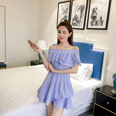 ca5f462133d08 Qoo10 - Strip blue cold shoulder off shoulder dress   Women s Clothing