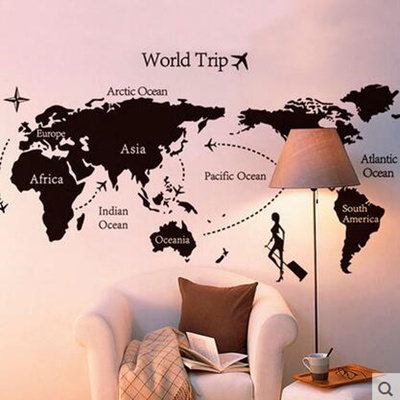 Qoo10 study wall decoration simple black and white world map study wall decoration simple black and white world map layout stickers gumiabroncs Image collections