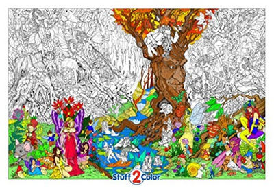qoo10 stuff2color beneath the trees giant wall size coloring
